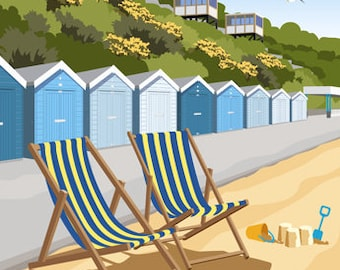 BOURNEMOUTH deck chairs and East Cliff Lift, Dorset. A4, A3, A2 in Retro, Art Deco style design