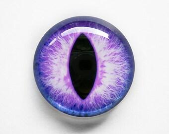 30mm handmade glass eye cabochon - purple cat or dragon eye - standard profile