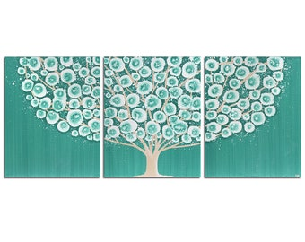 Triptych Wall Art Large Teal Canvas Art Original Painting of Tree - 50x20