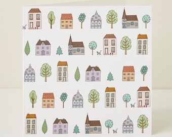 Town Houses Pattern Greeting Card