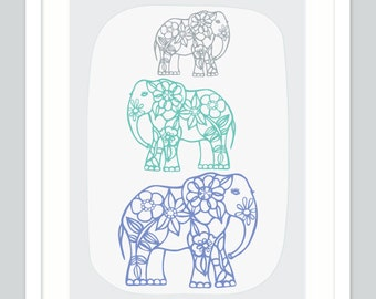 ON SALE | Elephant Nursery Prints | Pastel Kids Room
