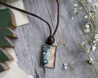 Map and Stone Pendant Necklace