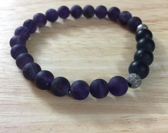 Frosted Amethyst and Onyx bracelet