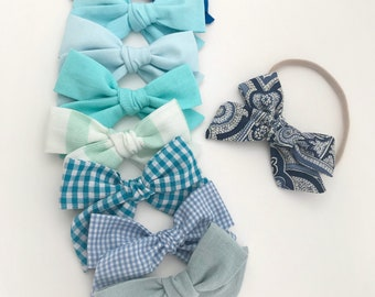 Summer Bow | Blue Bows | School girl bow | Hand tied bow | Headband or Clip