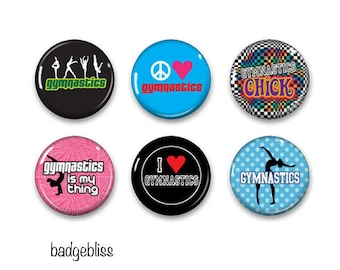 Gymnastic pinback button badges or fridge magnets, fridge magnet set
