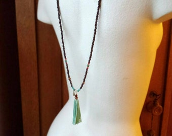 Lotus Jade and Turquoise Long Tassel Necklace