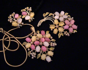 Vintage Pink Yellow White Glass Moonstone Green Enamel Brooch, Earrings, Pendant Necklace