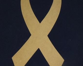 Unfinished Wooden Cancer Awareness Ribbon