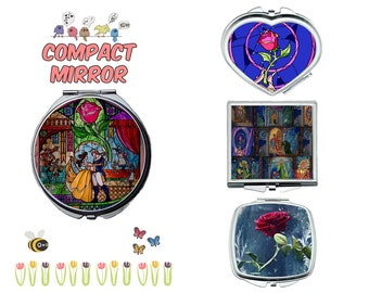 Beauty and the Beast compact mirror, makeup mirror, compact make up mirror, small mirror, double sided compact makeup mirror, purse mirror