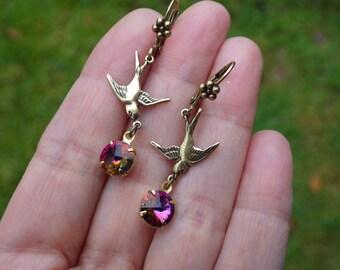 Volcano Bird ~ Swallow Earrings ~ Bird Earrings ~ Volcano Swarovski ~ Vintage Style ~ Bird Jewelry ~ Purple Topaz ~ by LadyofTheLakeJewels