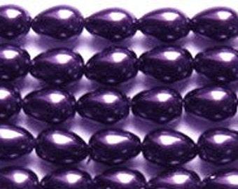 "7x5mm True Deep Purple Teardrop Glass Pearls 8"" strand 30 beads"