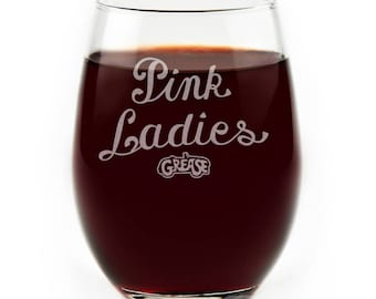 Pink Ladies Grease Movie Musical Engraved Logo Stemless Wine Glass, Musical Dance Lovers
