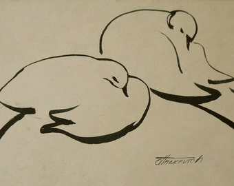 Dove Drawing. Line Drawing. Wedding Doves Drawing. Art. Bird Drawing. Original Ink Drawing. Black and White Drawing.