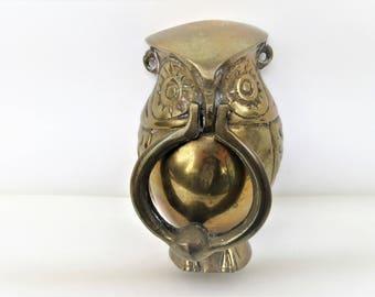 Vintage Brass Door Knocker | Brass Doorknocker | Brass Owl | Manual Door Bell | Large Metal Owl | Metal Doorknocker | Door Ornament