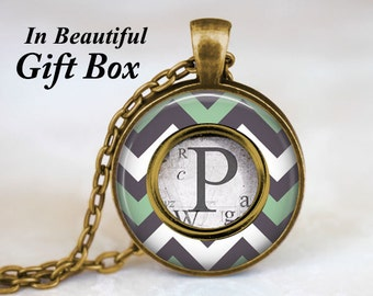 Gift For Her • Custom Letter Necklace • Initial Jewelry • Typewriter Key Necklace • Typewriter Jewelry • Personalized Gift • Chevron Jewelry