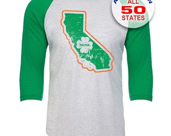 California Home State Irish Shamrock - Unisex Tri-Blend 3/4 Sleeve Raglan Baseball T-Shirt - Sizes XS-3XL in 13 Colors!