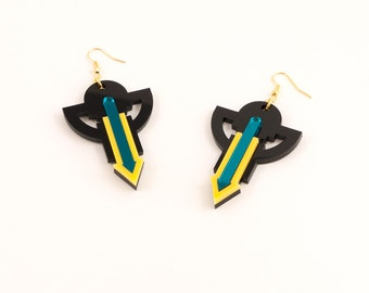 Geometric Perspex Statement Earrings - Yellow, Teal FORM_009
