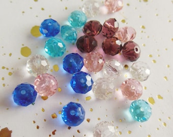 set of 25 abacus faceted Czech glass beads