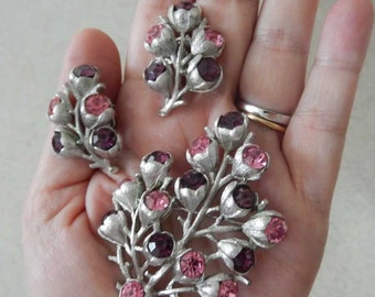 1960s Sarah Coventry Wisteria Brooch and Earrings Set Pink Purple Silver tone