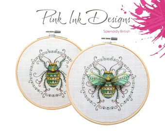Insect embroidery pattern, sewing illustration