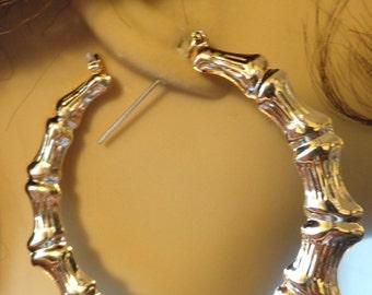 VINTAGE 80\u0027s BAMBOO HOOP earrings Gold Tone Hoop Earrings 2 inch Hoop & Gold bamboo earring | Etsy