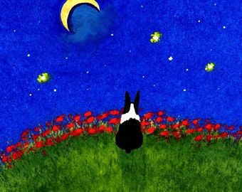 Boston Terrier Dog Folk Art PRINT by Todd Young Under the Stars