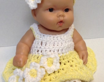 10 Inch Doll clothes,8 inch doll clothes,Yellow Dress Set ,Clothes for small Dolls,Dress,Headband,Shoes