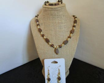 Brown & Tan Necklace w/ earrings and Bracelet set