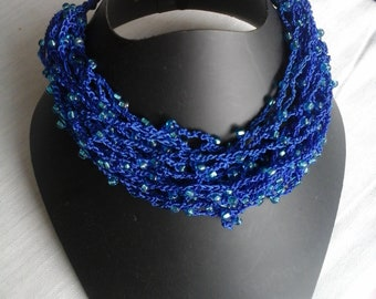 Necklace pearls necklace crocheted with beads, blue