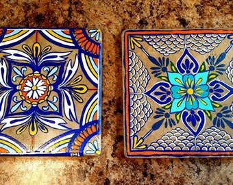 "Each tile is sold separately. Here are 2 Painted 6""×6"" tiles/trivet. Please specify which you'd like."