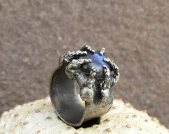 Labradorite cabochon silver plated ring | Labradorite cabochon electroformed ring | Labradorite magical ring