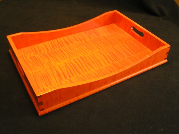 "12"" x 18"" Fall Orange Tiger Maple Serving Tray"