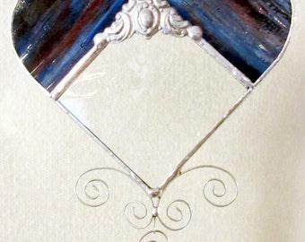 Cobalt / Red Streaky Heart Bevel Suncatcher with glass beads & Victorian filigree