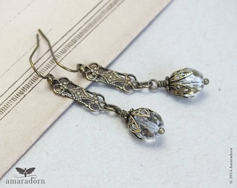Art Deco Earrings, Brass Filigree Earrings, Edwardian Style Crystal Earrings, 1920's Ear Rings, Art Deco Jewellery, Handmade UK