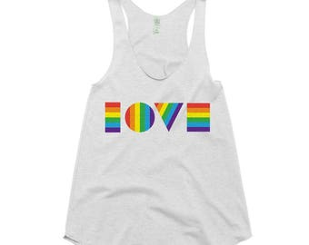 Ready to Ship - LGBT LOVE Shirt - xs | Women's Tank Top | LGBTQ Tank Top | Gay Pride Tank Top | Pride March Tank Top | Love Is Love