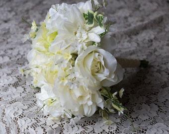 Ivory White Garden Wedding Bouquet