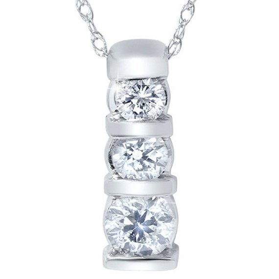 100ct 3 stone diamond bar set pendant 14 karat white gold aloadofball Choice Image