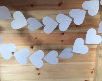 White Heart Garland, Heart Garlands, Decorations, Wedding Decorations, Party Decorations