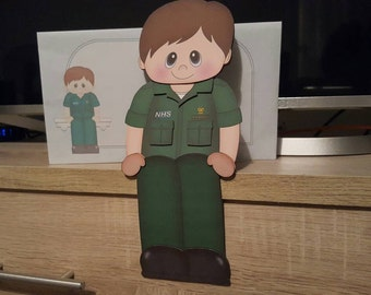 NHS paramedic, birthday card, husband, dad, brother, son, grandad, friend, 3d on the shelf card and envelope