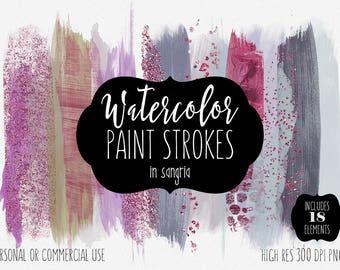 PURPLE WATERCOLOR BRUSH Strokes Clipart Commercial Use Clip Art Watercolor Paint Rectangles Wine Burgundy Confetti Watercolor Logo Graphics