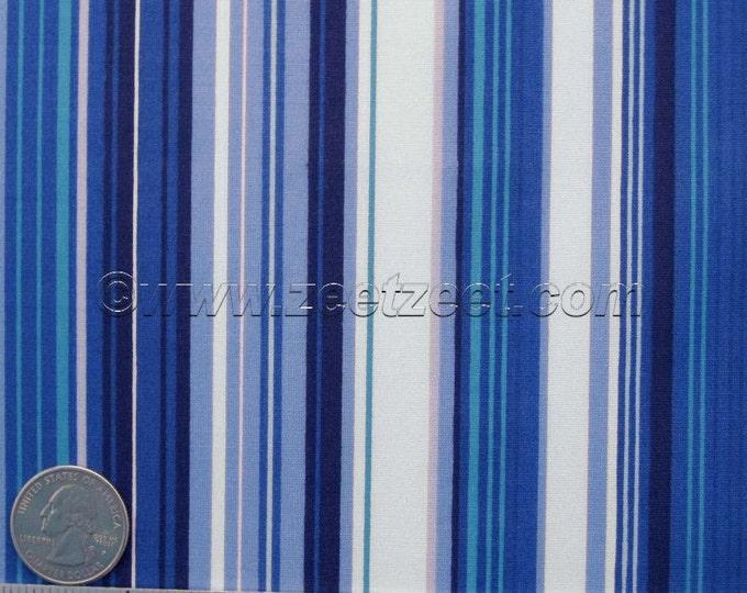 Robert Kaufman Lycra STRIPE - BLUE Woven Poplin Quilt Fabric - by the YARD - Beautiful Blues
