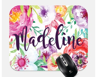 Floral Mousepad - Personalized Mouse Pad - Monogram Mouse Pad - Custom Mouse Pad - Computer Accessories