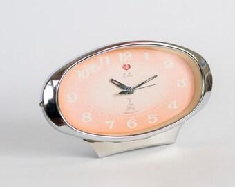 Vintage Mechanical Alarm Clock Five Rams, Pink Alarm Clock, Made In China Circa 1980's, Collectibles,