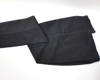 "vintage 1960's Men's Black Tuxedo pants. Worsted Mohair. Single pleat front - narrow leg. 34"" Waist. Made in England"
