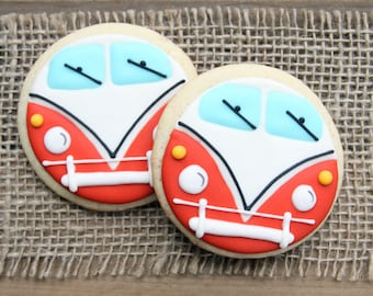 VW Bus Sugar Cookies / VW Bus Party Favors / VW Bus Cookies / Sweet Sixteen Birthday Party / 70s Party Decorations / Gifts for Him