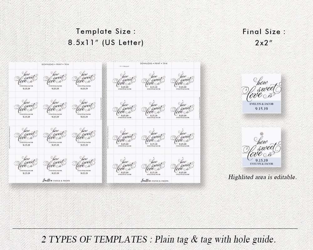 Wedding Gift Tag Template, Printable Wedding Favor Tag Label Sticker ...