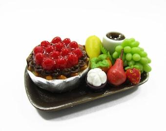 Dollhouse Miniature Food 1:12 Fruit Cake Fresh Fruit Coffee Ceramic Supply Charms 13944