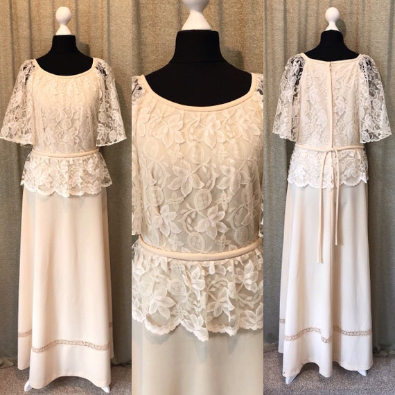 1970s Festival Lace 14 Sleeves Dress UK Bohemian Wedding Wedding Dress Dress 12 Wedding US10 Dress Boho Wedding 12 Hippie wvYzXazq