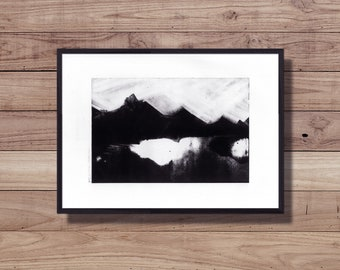 Print - Monoprint - landscape - Mountain - Lake - spooky - single print - wall decor - France