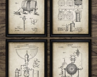 Beer Brewing Patent Print Set Of 4 - Beer Brewing Industry - Beer Bottling And Filter Design - Set Of Four Prints #1950 - INSTANT DOWNLOAD